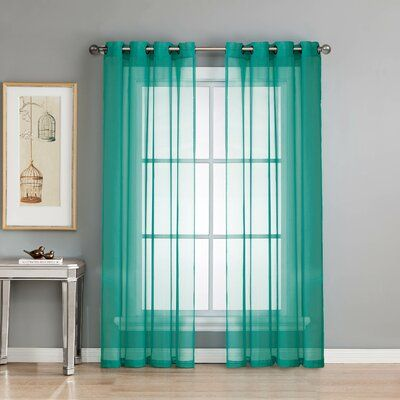 Gallimore Solid Sheer Grommet Curtain Panels Curtain Color Teal