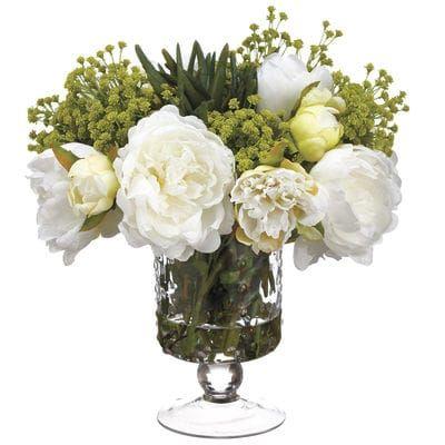 Faux Peony Succulent Baby S Breath Arrangement In Glass Vase Faux Flower Arrangements Flower Arrangements Faux Flowers
