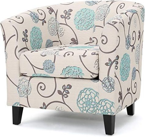 Amazing offer on Palisades Barrel Fabric Club Chair White  Blue Floral Pattern online - Perfectfurniture