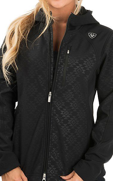 f252cae4a Ariat Women's Black Aztec Print Full Zip Soft Shell with Hood Jacket ...