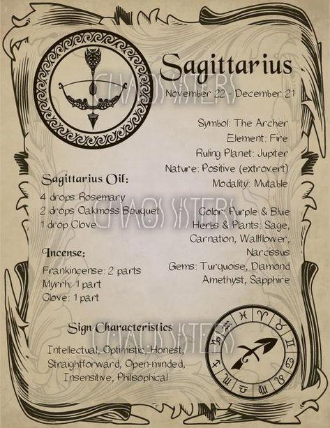Sagittarius Zodiac Sign Book of Shadow Printable PDF Wicca image 1