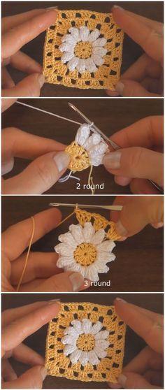 Crochet Beautiful Granny Square Motif - knitting is as easy as 3 That . - Crochet Beautiful Granny Square Motif – knitting is as easy as 3 Knitting boils down to thr - Granny Square Crochet Pattern, Crochet Squares, Crochet Blanket Patterns, Crochet Stitches, Knitting Patterns, Granny Square Tutorial, Afghan Patterns, Granny Square Scarf, Granny Square Projects