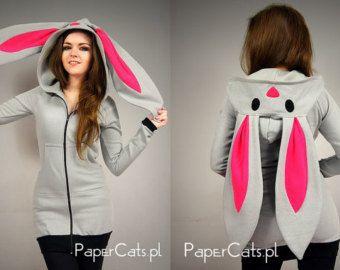 Bunny Rabbit Hoodie ears Kawaii very long cotton grey