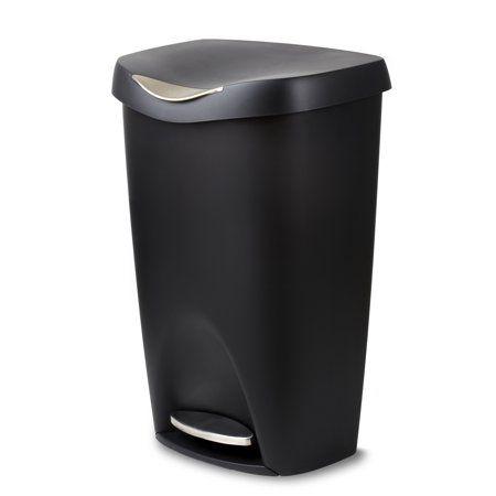 Umbra Brim 13 Gallon 50l Kitchen Trash Can With Lid Black Walmart Com Kitchen Trash Cans Trash Can Waste Basket