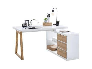 Stylife Tisch Eiche Weiss B H T 135 75 115 Eckschreibtisch Weiss Eckschreibtisch Regal Schreibtisch