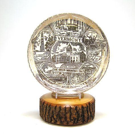 Vermont Souvenir Plate Metallic Gold Transfer By