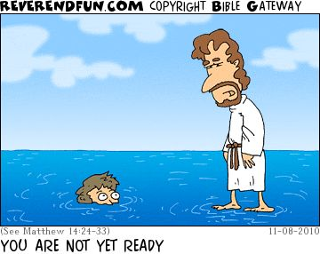Jesus, standing on water, looking at person who has sunk in the water up to their eyes
