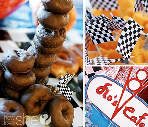 Love how the donuts are stacked like tires!