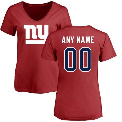Women New York Giants NFL Pro Line Red Custom Name and Number Logo Slim Fit  T-Shirtcheap nfl jerseys 42a64166c4
