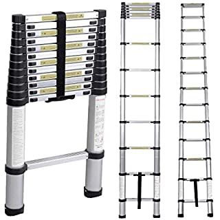 Telescoping Ladder 12 5 Ft Extension Telescopic Ladders Lightweight Aluminum Portable Best For Multi Use In Hom In 2020 Telescopic Ladder Multi Purpose Ladder Ladder