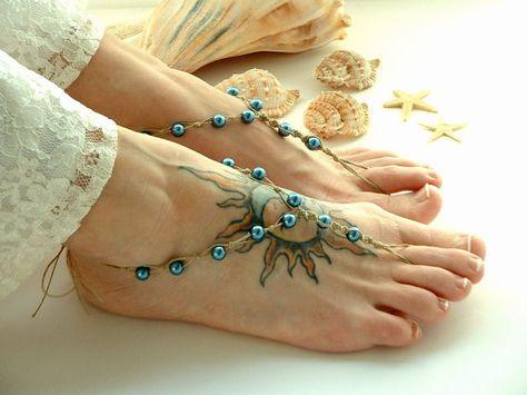 teal barefoot sandals