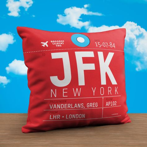 a22f6fa3dda Best trip ever! Create your own Tag Pillow  jfk  lhr  airport  decoration   newyork  london  aviation  travel  avgeek  airlines  pilot