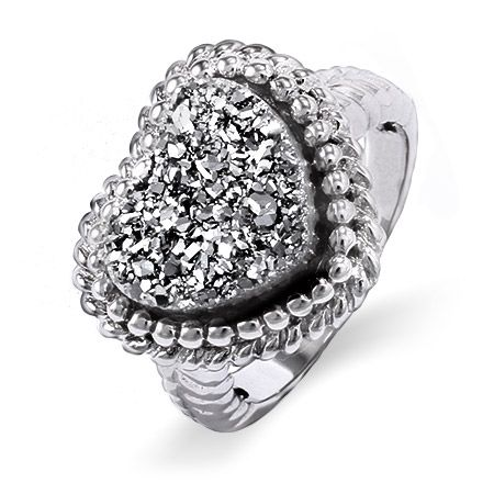 Wear your heart on your hand with this lovely sterling silver shimmering dusk Drusy heart ring.