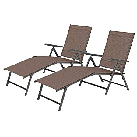 Phi Villa Outdoor Patio 2 Piece Metal 5 Stages Adjustable Folding Lounge Chair Beach Yard Pool Recliner Chaise Brown Lounge Chair Outdoor Pool Chaise Lounge Outdoor Chairs