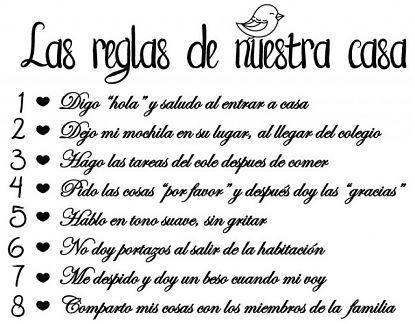 Vinilo Decorativo Convivencia En El Hogar Las Reglas De Nuestra