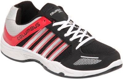 Columbus Tab 0115 Black & Red Running Shoes On LooksGud