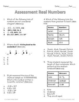 Practice Assessment Comparing And Ordering Real Numbers Real Number System Real Numbers Math Number Sense