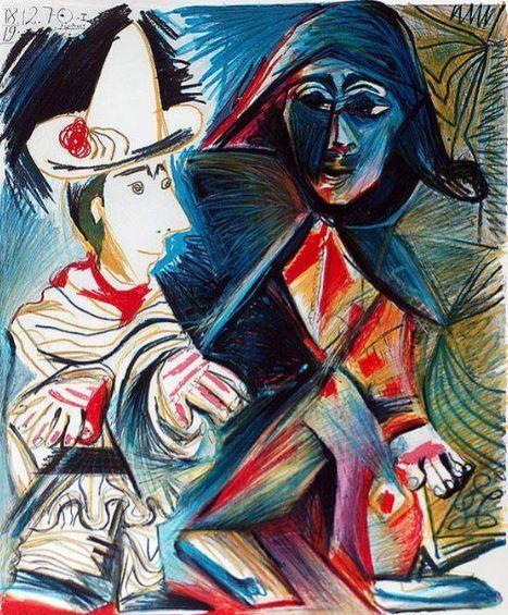 Arlequin Et Le Clown Tableau De Pablo Picasso 1971 Pablo Picasso Art Picasso Art Art