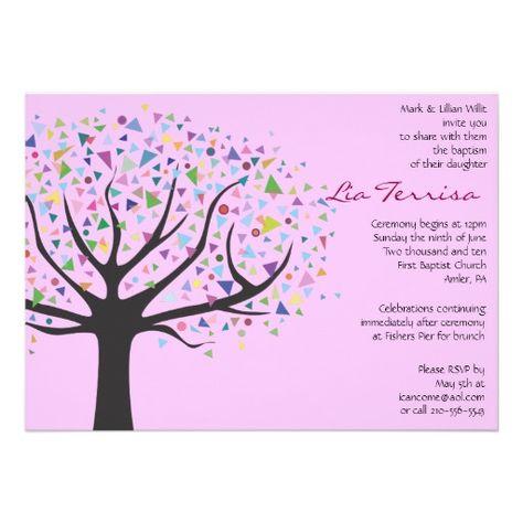 Baum Taufe Taufkundenspezifisches Einladungsrosa Einladung