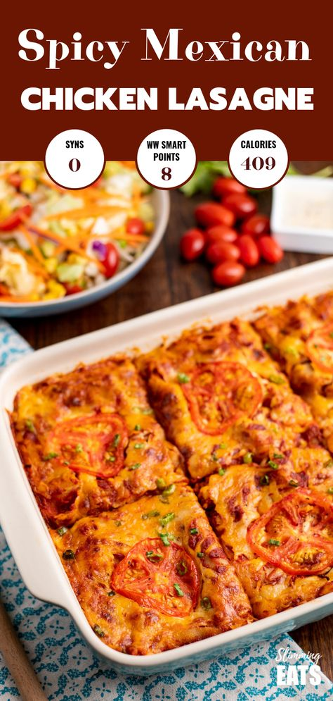 Spicy Mexican Chicken Lasagne - all the delicious flavours of Mexican food in this family-friendly lasagne recipe. Gluten Free, Slimming World and Weight Watchers friendly