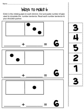 Ways To Make 6 8 And 10 With Missing Addends Kindergarden Math Math Operations Math