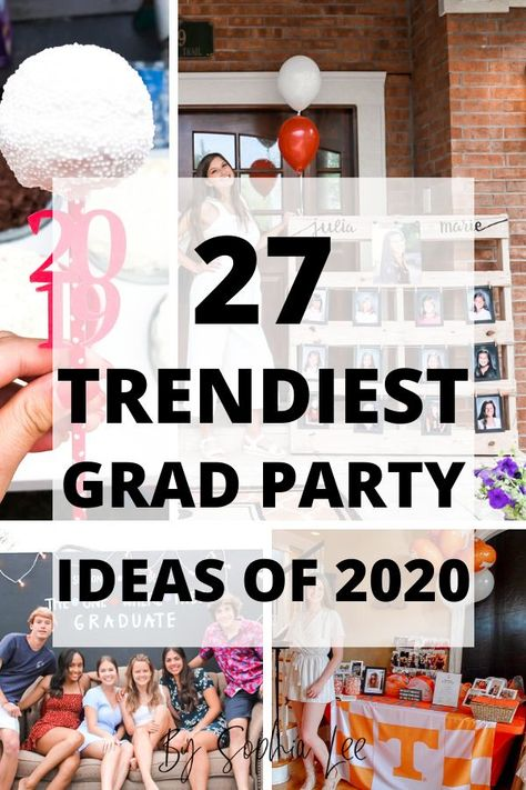 Graduation Party Decor Discover 27 BEST 2020 High School Graduation Party Ideas Looking for the best 2020 High School Graduation Party Ideas? These ideas are guarunteed to WOW your guests with all the best 2020 grad party trends. Graduation Party Desserts, Outdoor Graduation Parties, Graduation Party Centerpieces, Graduation Party Planning, College Graduation Parties, Graduation Celebration, Grad Party Decorations, Graduation Food, Grad Parties