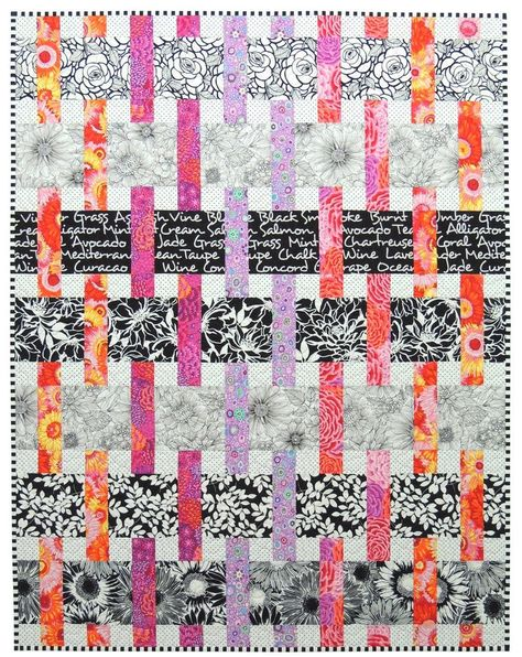 Interweave Quilt Pattern, Especially designed for Kaffe Fassett and Amy Butler prints Baby, Throw, Twin and Queen sizes - Interweave is specifically designed to feature large scale prints. Kaffe Fassett and Amy Butler fab - Jellyroll Quilts, Patchwork Quilting, Scrappy Quilts, Easy Quilts, Quilts For Kids, Amy Butler, Quilt Festival, Quilt Baby, Strip Quilts