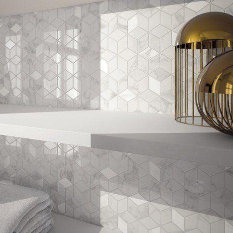Mosaique Mur Murano Hexa Blanc Carrare Idee Salle De Bain Salle De Bain Blanche Et Bois Carrare