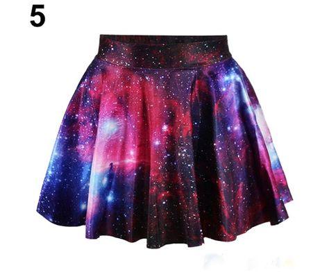 Womens Purple Galaxy Digital Print Stretchy Flared Pleated Casual Mini Skirt,One Size,Purple Galaxy