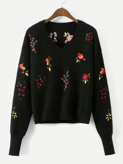 Aesthetic embroidery sweater