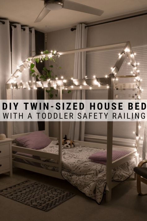 Ramona's DIY toddler house bed frame is an easy build that I modified to add a headboard, a footboard, and an easy toddler bed railings usi. Toddler Floor Bed, Toddler House Bed, House Beds For Kids, Diy Toddler Bed, Toddler Rooms, Kid Beds, Kids Beds Diy, Baby Floor Bed, Decorating Toddler Girls Room