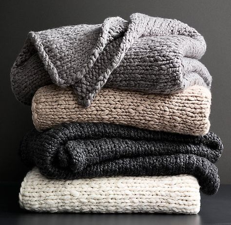 Chunky Hand-Knit Oversized Bed Throw                                                                                                                                                                                 More