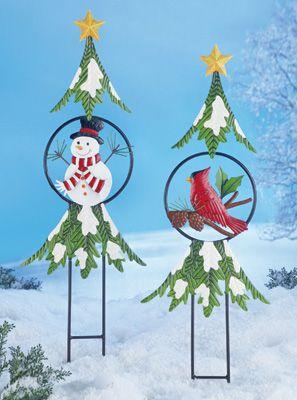 Christmas Holiday Tree Garden Stakes