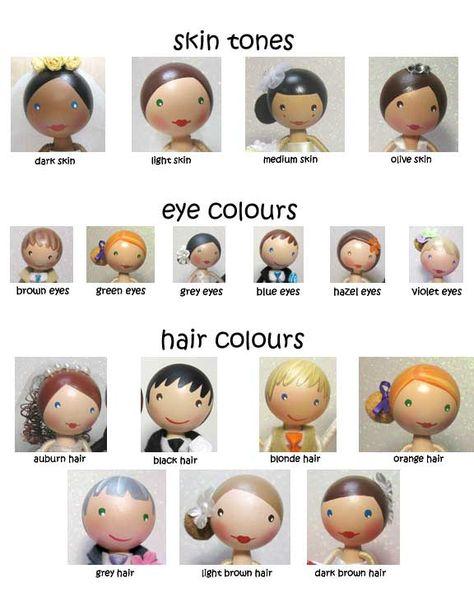 Wood peg doll hair tutorial, Skin Tones/Eye Colours/Hair Colours by… Wood Peg Dolls, Clothespin Dolls, Doll Crafts, Diy Doll, Clothes Pegs, Operation Christmas Child, Wooden Pegs, Kokeshi Dolls, Doll Hair