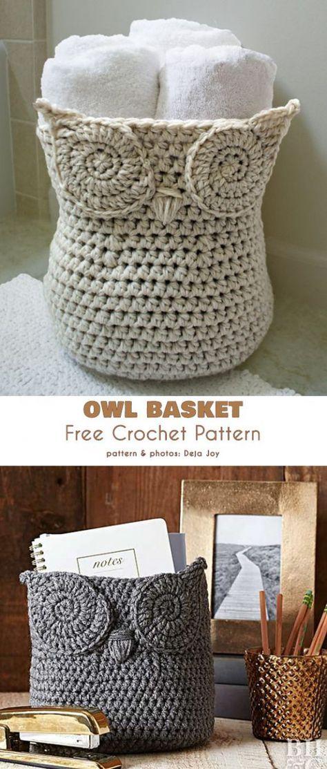 Best No Cost Cute crochet owl Ideas Owl Basket Container Free Crochet Pattern Crochet Easter, Crochet Owl Basket, Crochet Basket Pattern, Knit Basket, Cute Crochet, Easy Crochet, Owl Crochet Pattern Free, Crochet Owls, Crochet Flowers