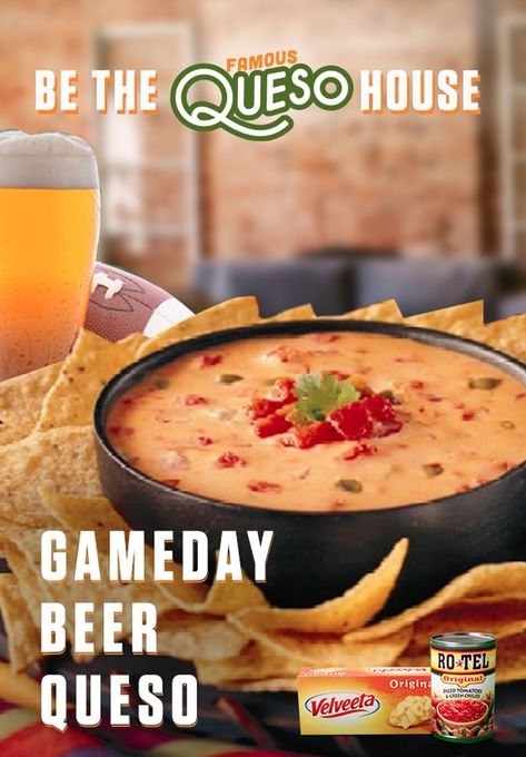 Ready to kick up your dip? This Gameday Beer Queso with the one-two kick of RO*TEL's diced tomatoes and spicy green chilies and the melty goodness of VELVEETA is all you need. Turn your house into a F Appetizer Recipes, Snack Recipes, Appetizers, Dip Recipes, Conagra Foods, Crockpot Recipes, Cooking Recipes, Good Food, Yummy Food