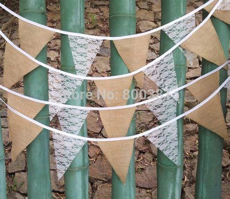 Vintage Jute Hessian Burlap Bunting Banner Flag Fabric Wedding Party Supplies