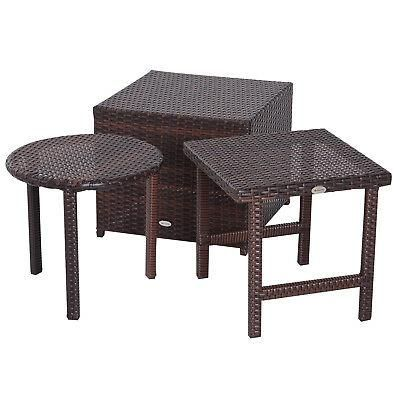 Rhet 3 Piece Rattan Wicker Cubed Table Patio Set Patiow Patio Set Cube Table Bedroom Night Stands