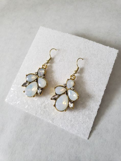 c7d07d98a White Crystal Opal Stone Earrings- Raw Opal- Real Opal Jewelry- Opal  Wedding Earrings