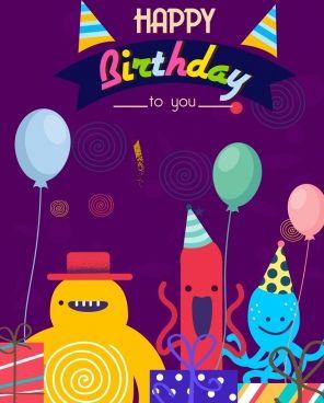 Birthday Card Template Cute Stylized Cartoon Characters Birthday Card Template Birthday Cards Card Template