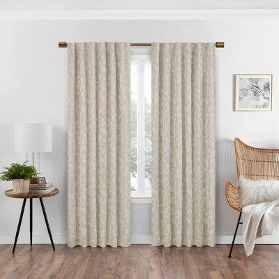Nora Botanical Print Absolute Zero Blackout Window Panel Eclipse In 2020 Panel Curtains Curtains Window Curtains