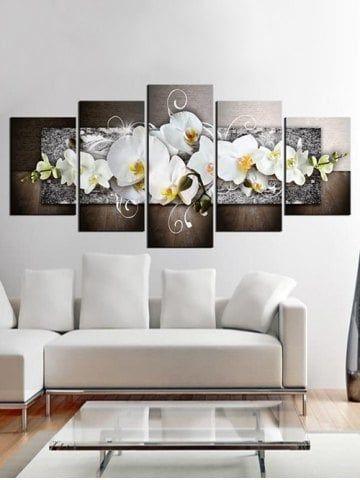 Flower Print Unframed Split Canvas Paintings Fashion Wall Art Canvases Wall Art Canvas Painting Canvas Wall Art