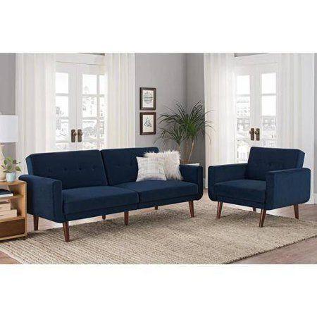 Better Homes And Gardens Nola Modern Futon Gray Velvet Walmart Com In 2021 Blue Couch Living Room Navy Sofa Living Room Blue Sofas Living Room