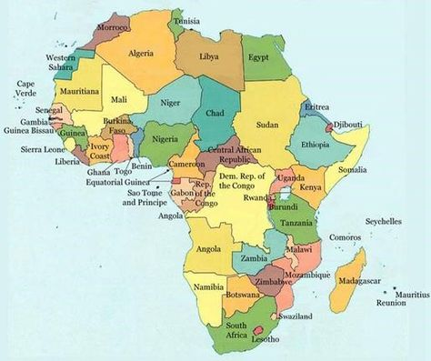 map-of-africa-countries MAPS of the WORLD Pinterest Africa - new world map of africa