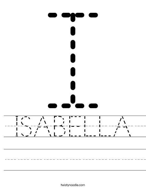 Isabella Worksheet Twisty Noodle Worksheets Alphabet Handwriting Practice Preschool Writing