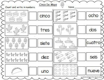 Cinco De Mayo Themed Spanish Number Words Worksheets 1 10