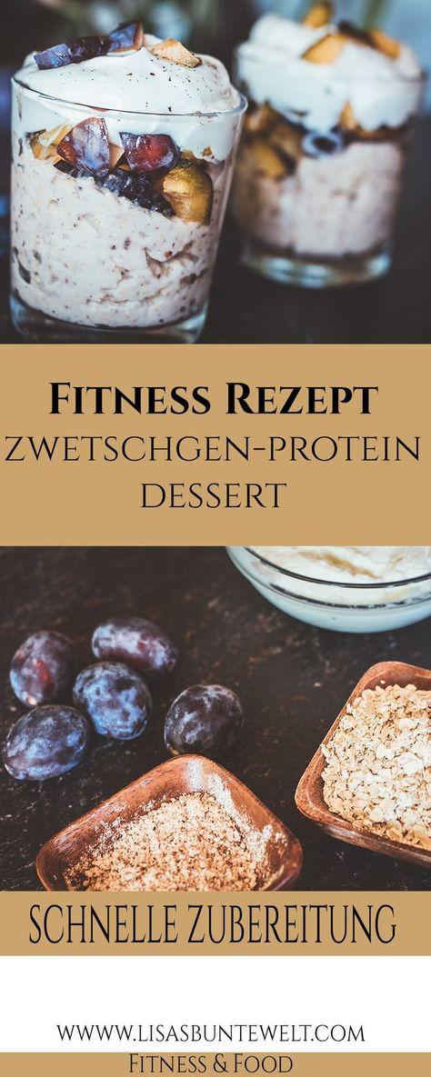 Zwetschgen-Protein-Dessert. Lecker, gesund und mit viel Eiwei�. Eine super leckere Nachspeise für figurbewusste Menschen. Diese leckere Sü�speise eignet sich auch super als Frühstück zum Abnehmen oder als Post-Workout Meal.
