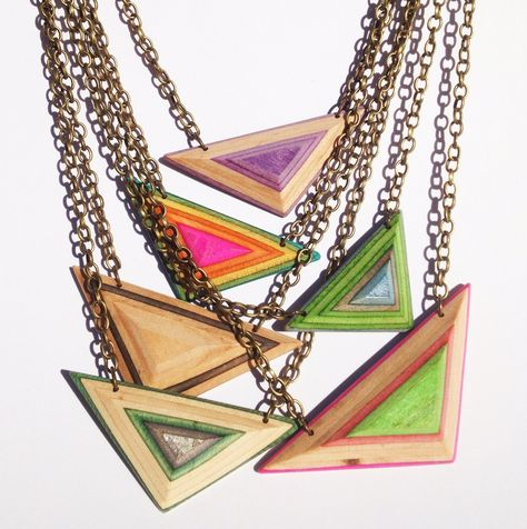 Necklace - Triangle - made from broken wooden skateboard decks. Handcrafted by Sam Messina for Deadwood Creative