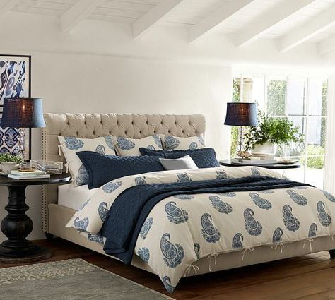 Love This Bed And The Blue Chesterfield Upholstered Headboard Pottery Barn
