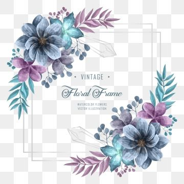 Wedding Invitation With Blue And Purple Watercolor Flower Floral Decoration Background Pattern Flower Png Transparent Clipart Image And Psd File For Free Dow Watercolor Flowers Floral Watercolor Floral Poster